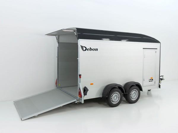 Kofferanhänger Cargo XL 167x370 H200 2,6t Alu, Polybug, Tür, schwarz