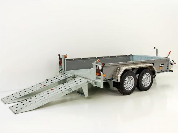 Baumaschinenanhänger BA 155x360cm 3,5t|SB|Schwenk-Rampen|grau|Vezeko