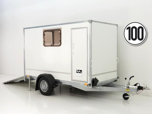 Kofferanhänger BK 146x304cm Höhe:180 1,3t|Rampe|Tür|2 Fenster|Blyss