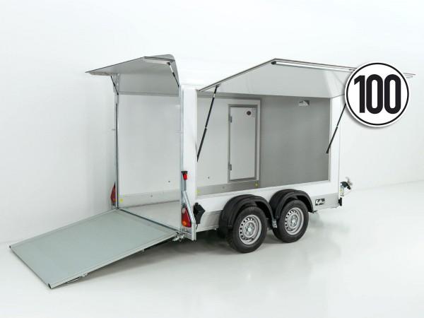 Kofferanhänger Cargo Seitenklappe 163x300cm H:200cm 2,0t Alu, Polybug, Tür, weiß
