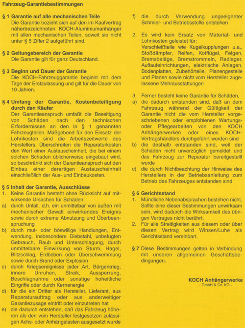 Fahrzeug-Garantiebestimmungen