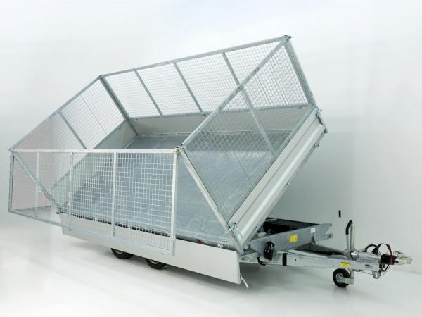 Dreiseitenkipper VDK 210x414cm 3,5t|Blattfedern|E-Pumpe|Gitter 100cm|Variant