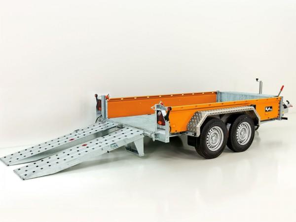 Baumaschinenanhänger BA 155x360cm 3,5t|SB|Schwenk-Rampen|orange|Vezeko