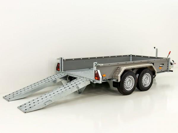 Baumaschinenanhänger BA 155x300cm 3,5t, grau, SB mit einzel Rampen