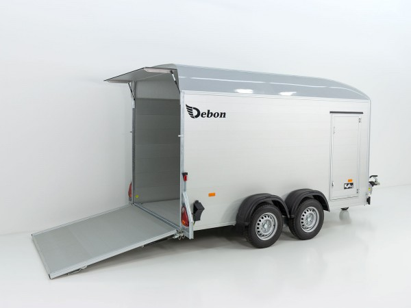Kofferanhänger Cargo XL 167x370 H200 2,6t Alu, Polybug, Tür, grau