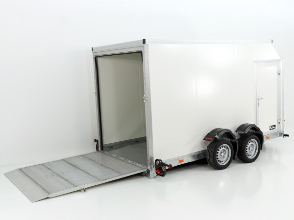 Koffer-Absenkanhänger 156x341cm Höhe:190cm 2,7t elekt. absenkbar