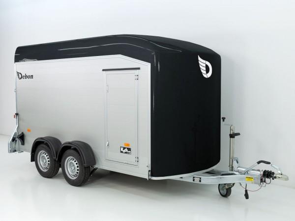 Kofferanhänger Cargo XXL 185x378 H203 2,6t Alu, Polybug, Tür, schwarz