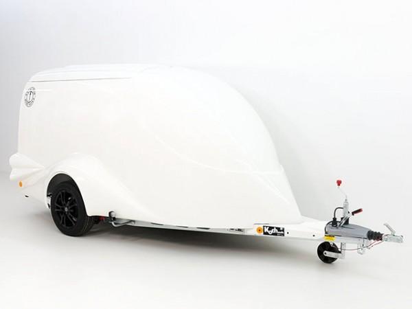 Motorradanhänger S1 120x280 H150 weiß, Sonderfelgen 16 Zoll in schwarz