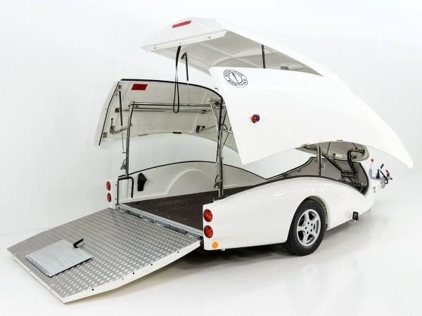 Motorradanhänger S2 TRANS-FORM 190x397 H150 weiß Luxus, Alu Felgen