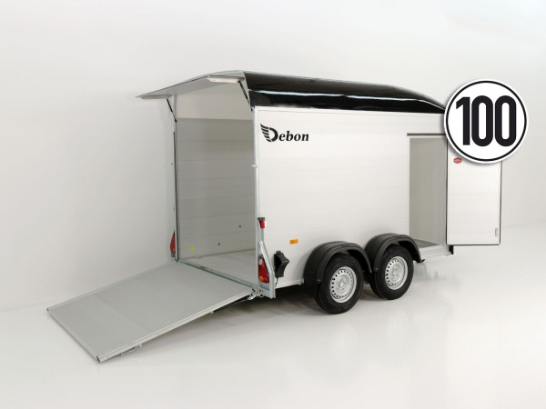 Kofferanhänger Cargo 163x300cm H:200cm 2,0t|Alu|Polybug|Tür|schwarz|Debon