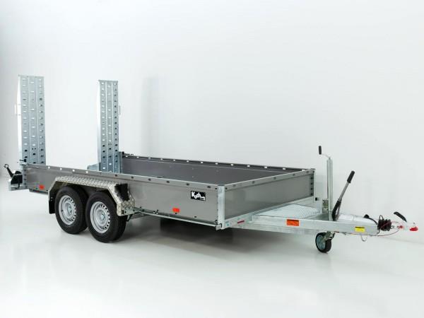 Baumaschinenanhänger BA 190x390cm 3,5t|grau|einzel Rampen|SB|Vezeko