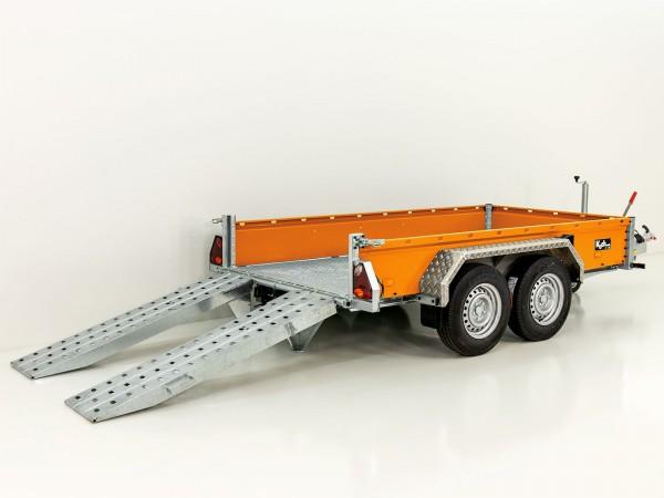 Baumaschinenanhänger BA 155x300cm 3,5t, orange, SB mit einzel Rampen